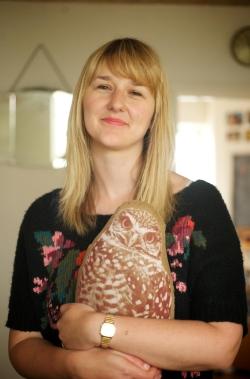 Clare Pollard with owl cusion