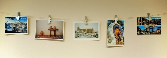 Postcards on washing line