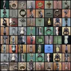 Rows of small pictures of different door knockers