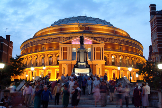 Exterior shot of Albert Hall lit up at night